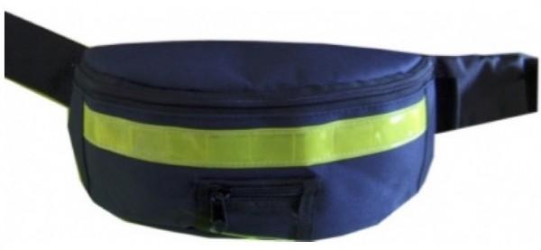 Gürteltasche blau mit gelbem Reflex Streifen - Nylongewebe - Restposten